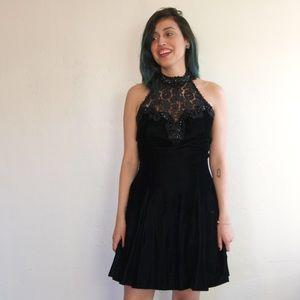 Vintage black velvet skater dress w/tulle grunge